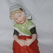 Large Heubach Bisque Piano Baby Figurine Dutch Girl