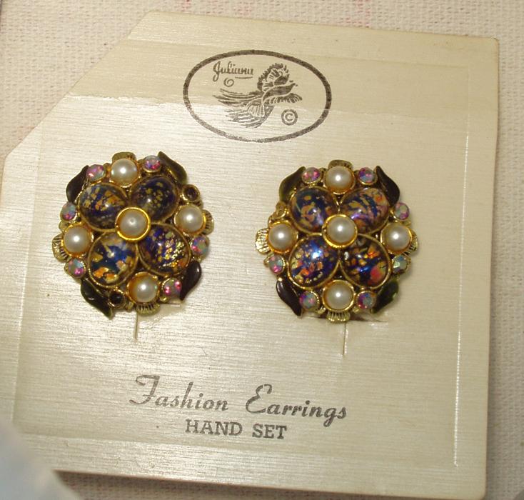 Juliana Clip On Earrings Original Card Vintage
