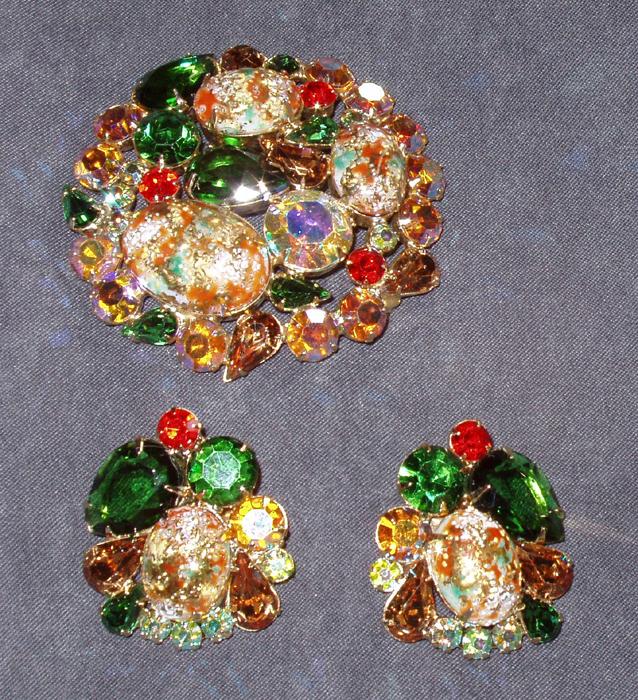 Juliana Easter Egg Brooch Earrings Demi-Parure