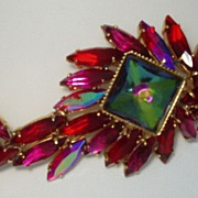 Juliana Fish Figural Brooch Red Aurora Borealis Open Back