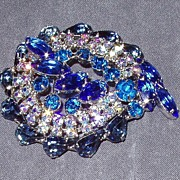 Juliana Montana Blue Aurora Borealis Domed Brooch