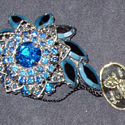 Blue Juliana Brooch Original Tag Built Up Prong Set
