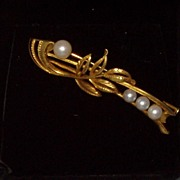 Vintage Mikimoto Gold Pearl Brooch Pin Estate Ca 1950s Fine Designer Jewelry Heirloom Free Shipping