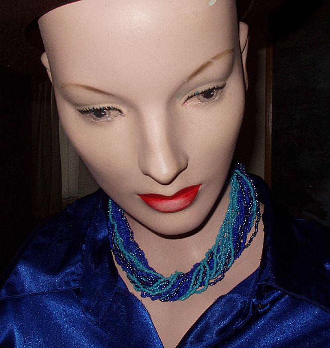 """Vintage Blue Bohemian Glass Bead Estate 18"""" Necklace"""