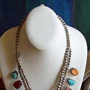 Native American Multi-Stone Squash Necklace Sterling Silver
