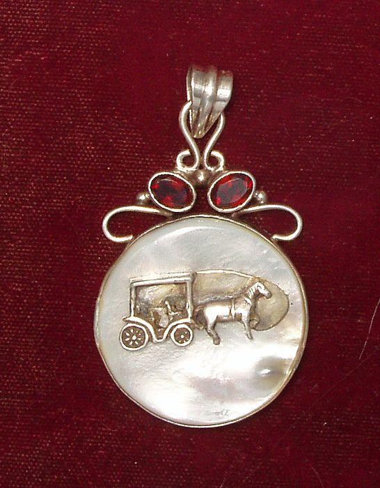 New Orleans Carriage Pendant MOP Stefano Velaskas Art Silver