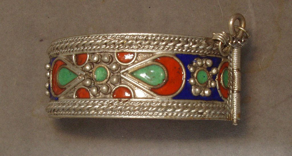 Old Oriental Silver Enamel Cuff Bracelet with Safety Clasp