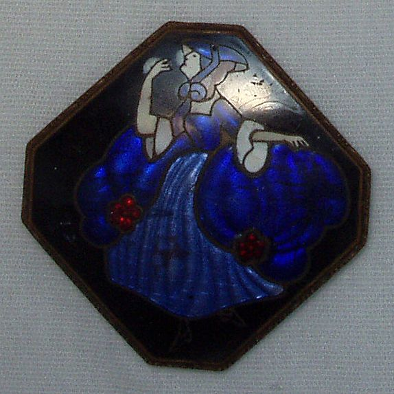 Vintage Enameled Victorian Lady Brooch/Pin c1900 Free Shipping