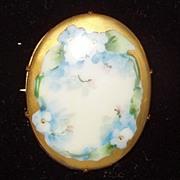 Ca 1900s Porcelain Brooch Floral Design