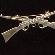 Vintage Sterling Silver Crossed Rifles Firearms Brooch