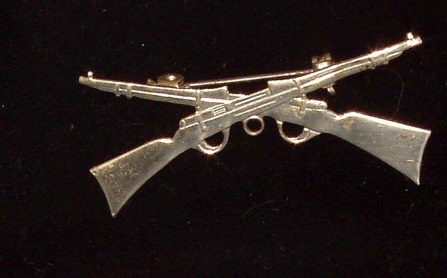 Vintage Sterling Silver Crossed Rifles Firearms Brooch