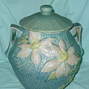 "Roseville Cookie Jar ""Clematis"" #3-8-B.V. Green Teal"