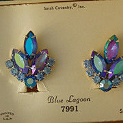 D & E Juliana Sarah Coventry Blue Lagoon Earrings NIB