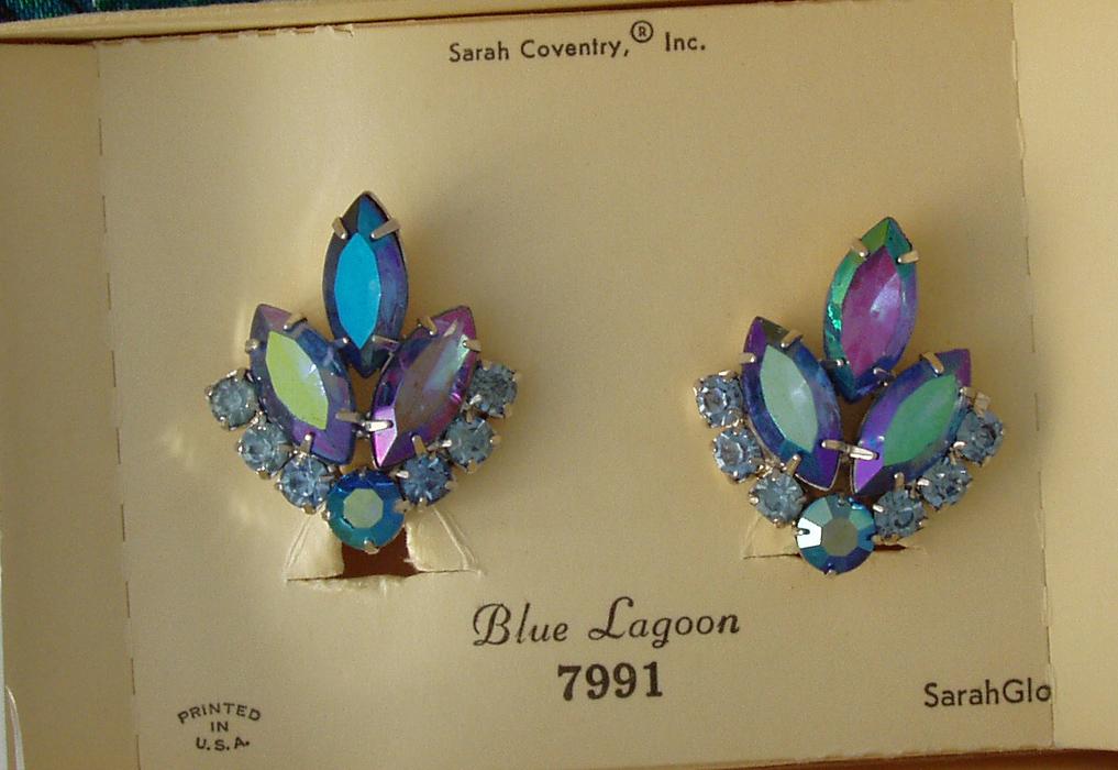 D & E Juliana Sarah Coventry Blue Lagoon Earrings NIB
