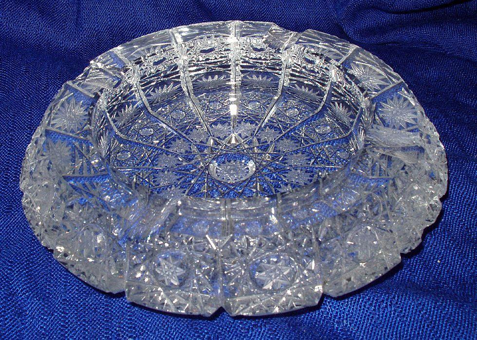Heavy Vintage Crystal ashtray Beautiful Snowflake Design