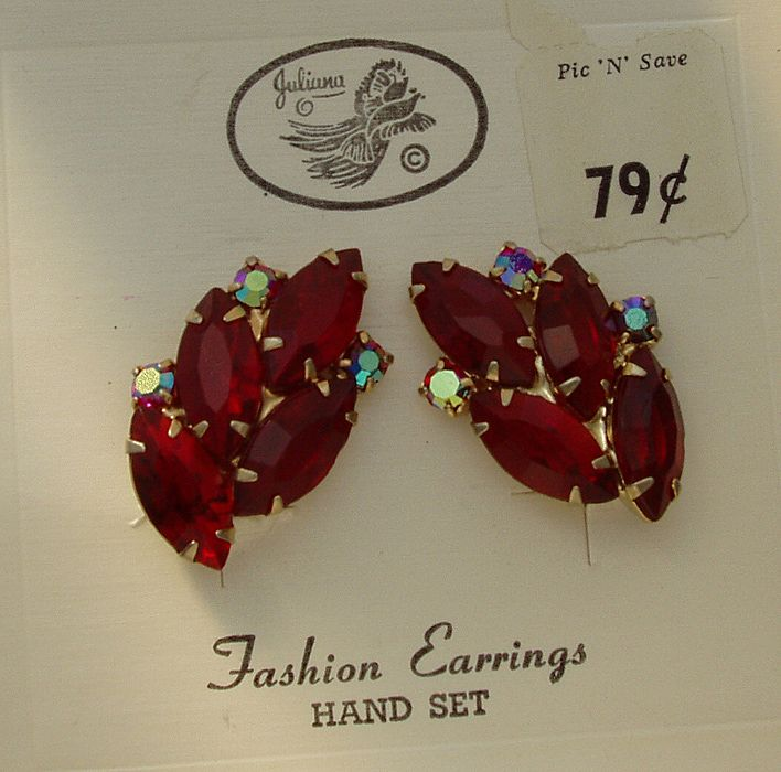 Juliana D&E Red Rhinestone Clip On Earrings Original Tag