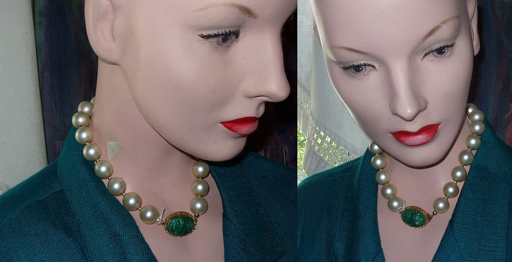 Faux Pearl Necklace Choker Green Scarab Stone Ca 1930s