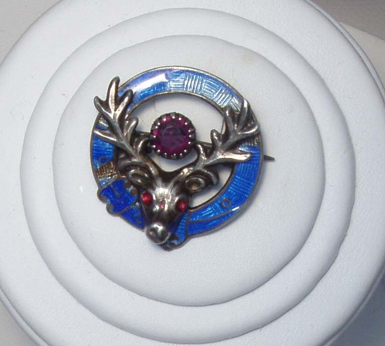 Stag's Head Brooch Birmingham 1921 Pin Scottish Estate Free Shipping