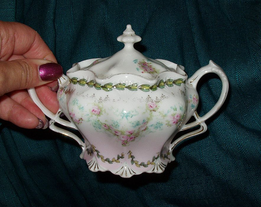 RS Prussia Sugar Bowl Ca 1940s Handpainted