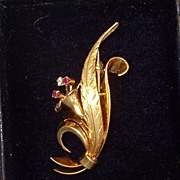 Tiffany & Co. Ruby & Diamond Pin Brooch 18k Gold Box