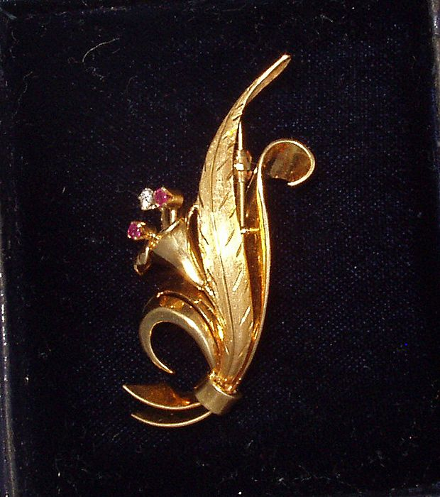 Tiffany & Co. Ruby & Diamond Pin Brooch 18k Gold Box