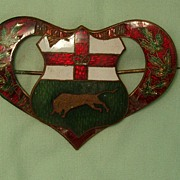 Antique Victorian Enamel Heart Shield Pin Brooch