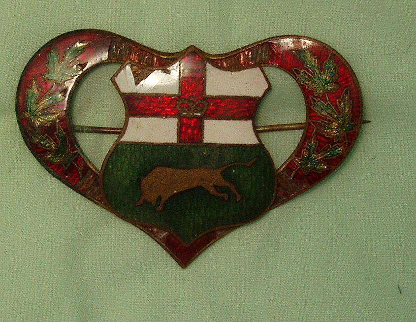 Antique Victorian Enamel Heart Shield Pin Brooch