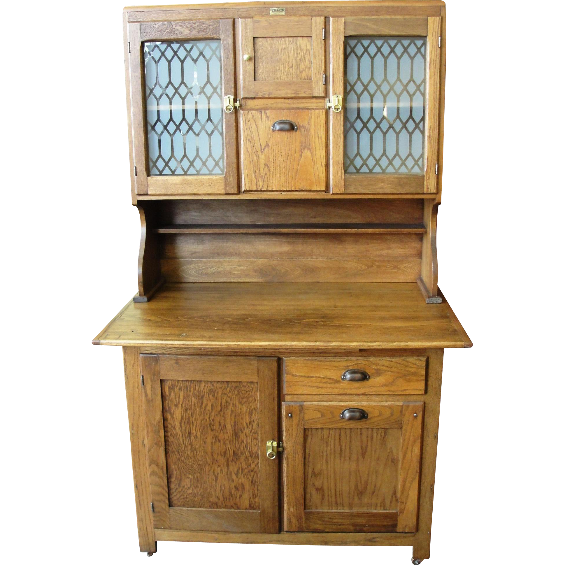 Antique Boone Oak 2 Piece Kitchen Cabinet