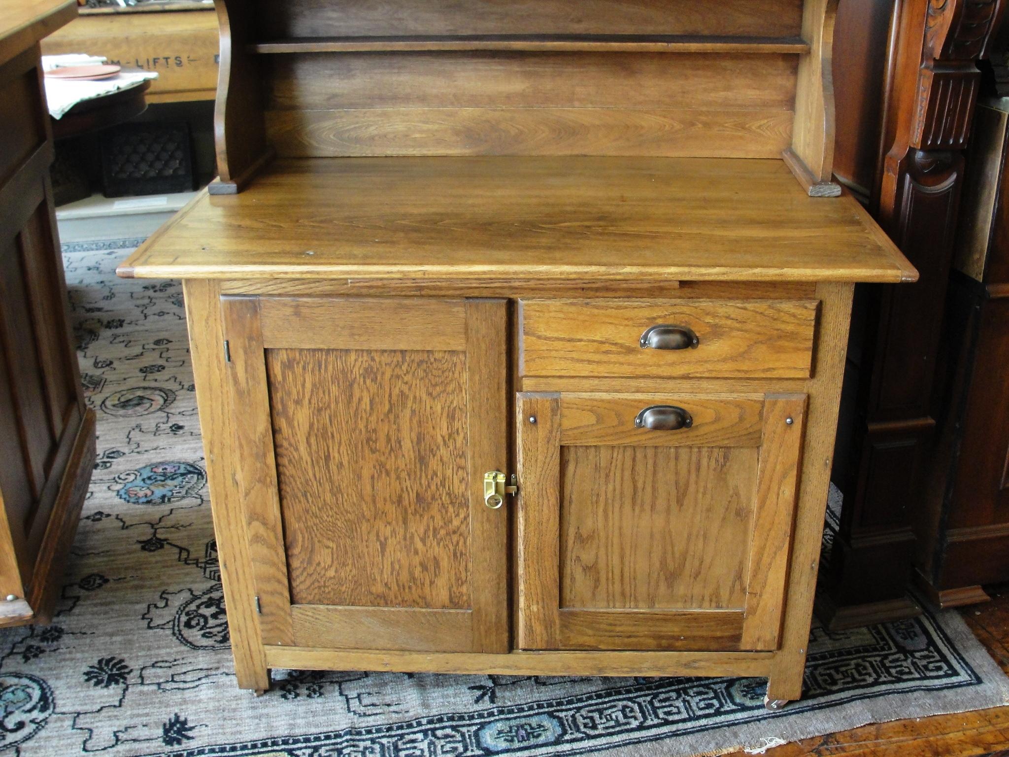 Antique Boone Oak 2 Piece Kitchen Cabinet From