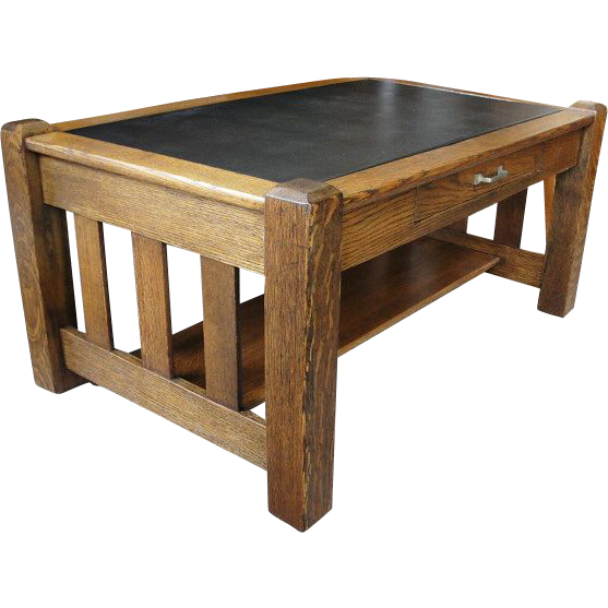 Mission Oak Table With Drawer Nice For Coffee Table From Breadandbutter On Ruby Lane
