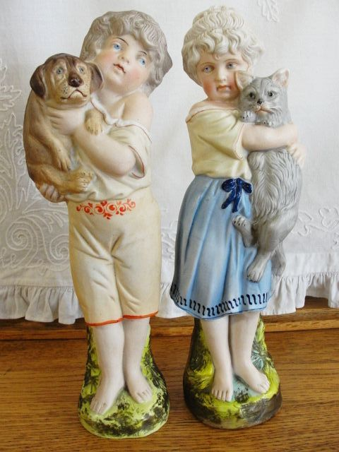 German Bisque Figurines Boy & Girl with Cat & Dog