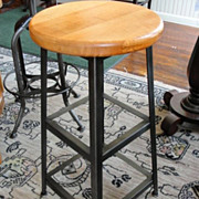 Vintage Industrial Angle Steel Stool with Maple Seat