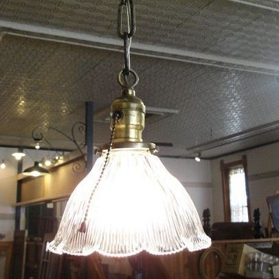 Pendant Light Fixture with Holophane Shade