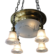 Vintage Brass Light Fixture with Original Shades