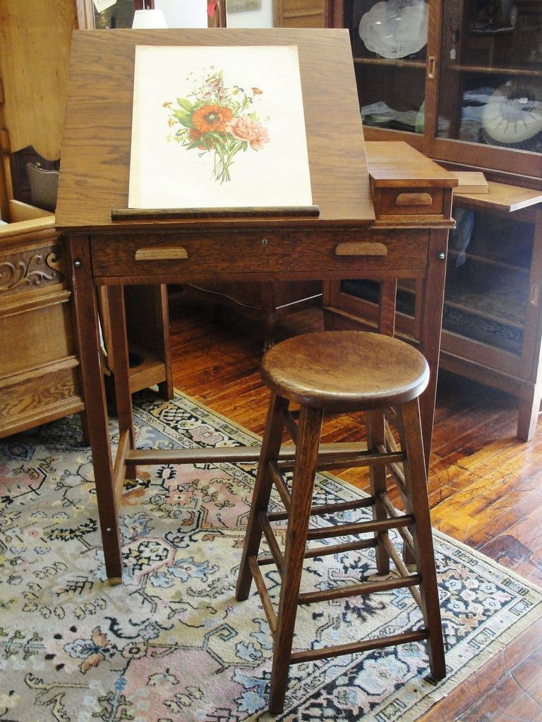 Oak Artist Drawing / Drafting Table Or Desk With Adjustable Top