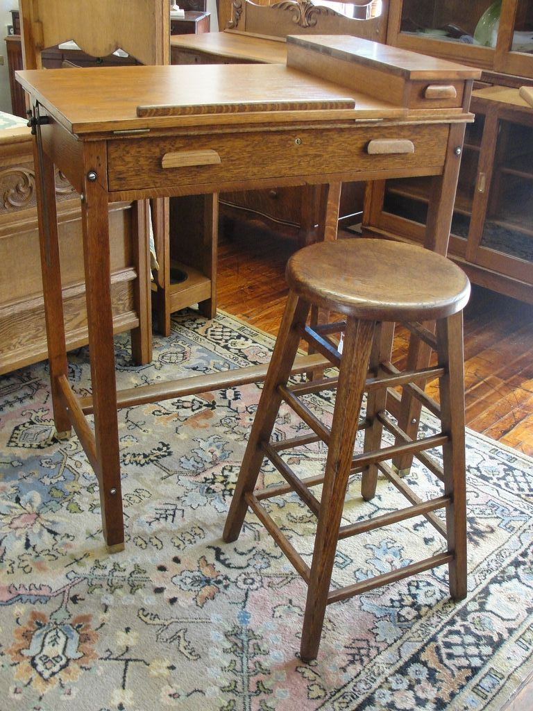 Oak Artist Drawing Drafting Table Or Desk With