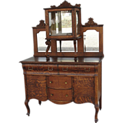 Victorian Quartersawn Oak Sideboard / Server with Lion Heads