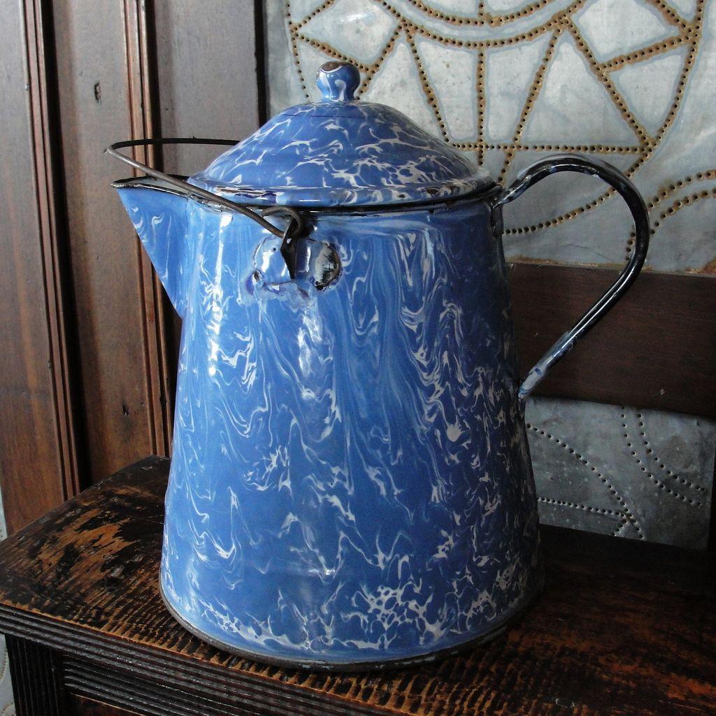Large Vintage Blue Amp White Swirl Graniteware Coffee Boiler
