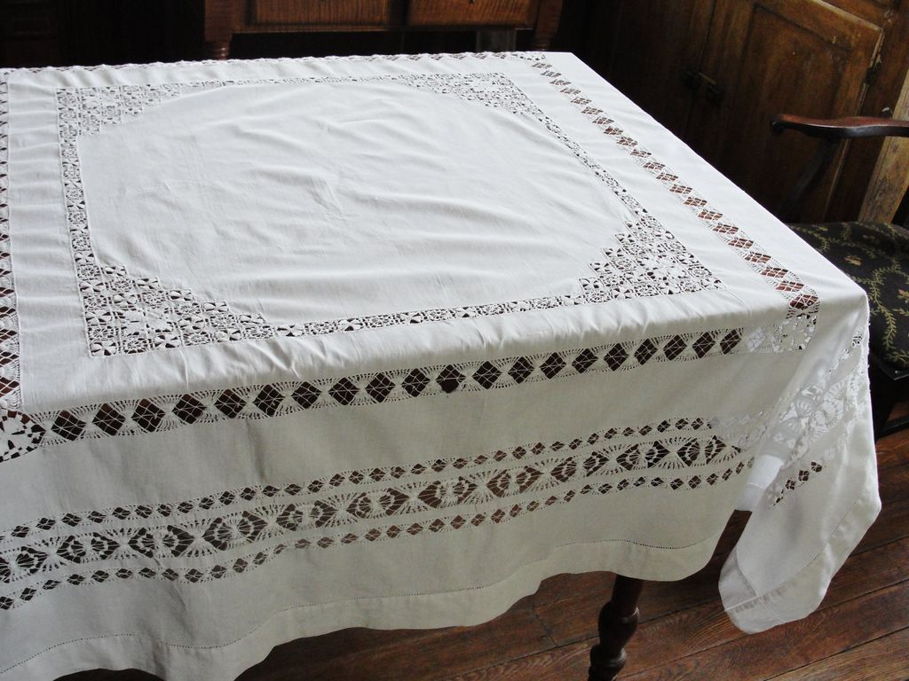 Pretty White Cotton Drawn Work Tablecloth   Red Tag Sale Item SOLD | Ruby  Lane