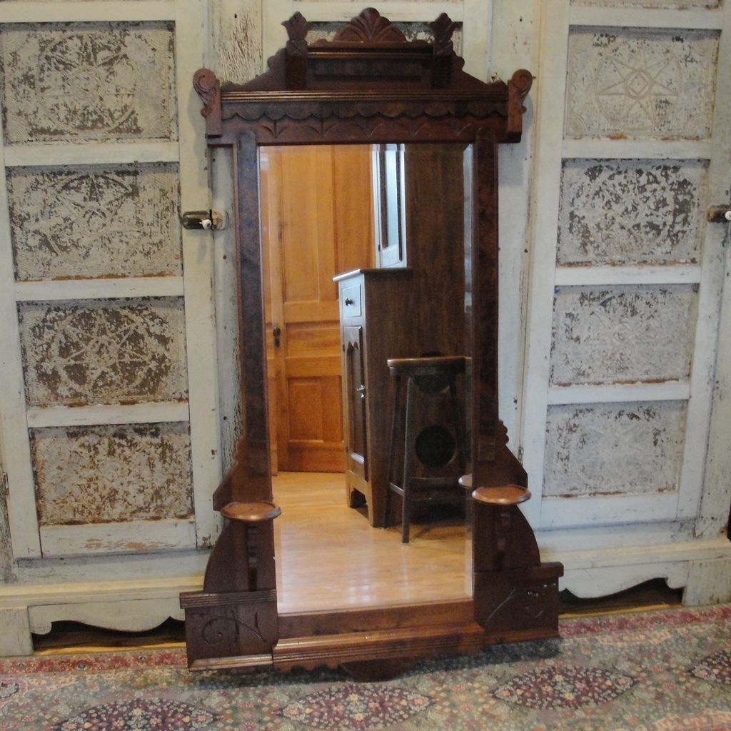 Walnut Victorian Beveled Glass Mirror