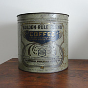 Vintage Golden Rule 10 Pound Coffee Tin with Lid