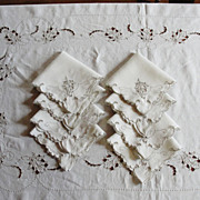 Vintage Linen Madeira Tablecloth & 8 Napkins