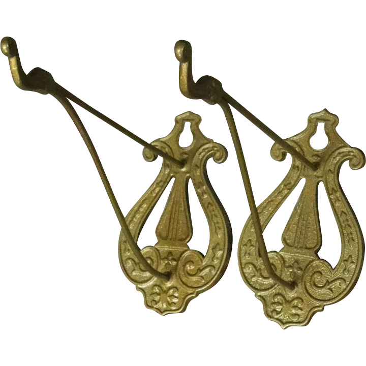 2 Vintage Decorative Metal Hooks