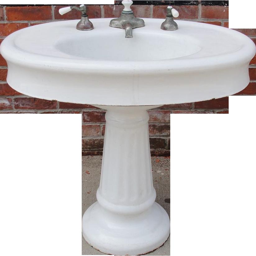 Antique Vintage Oval Pedestal Porcelain Bathroom Sink Architectural Sold On Ruby Lane