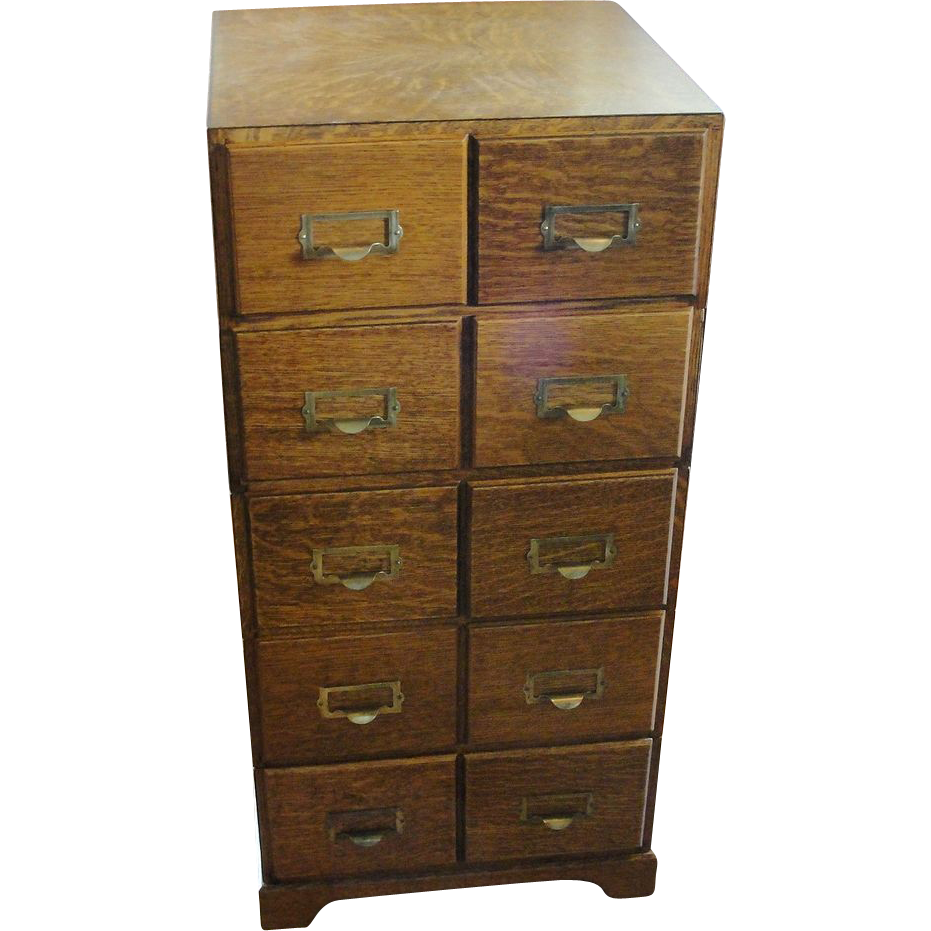 Quarter Sawn Oak 5 Section Stacking File Cabinet With 10