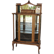 Nice Curved Glass Oak China Display Cabinet