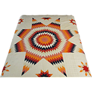 Vintage Lone Star Pieced Quilt