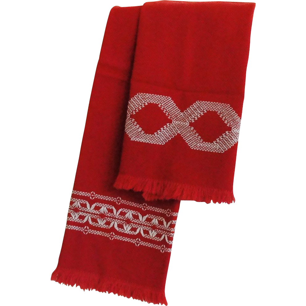 Pair Of Vintage Kitchen Hand Towels Red With White Embroidery From