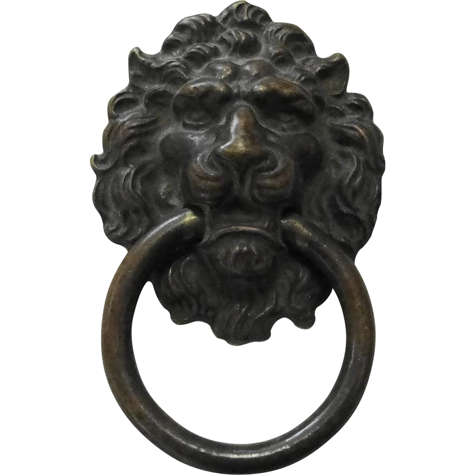 Vintage Brass Lion Head Ring Pull Drawer Handle Sold On