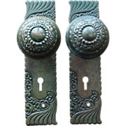 Russell & Erwin Doorknob and Door Plate Set Late 1800's